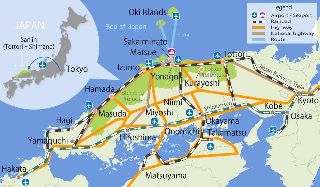 Route Romantique San'in map